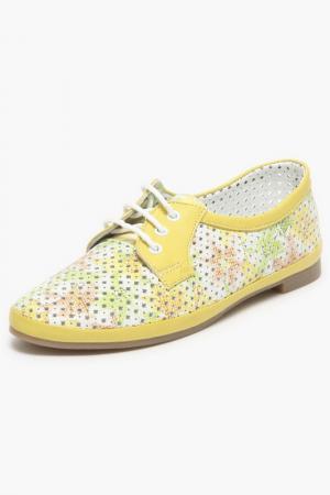 Летние туфли JTI BELLA. Цвет: желтый, белый, узоры