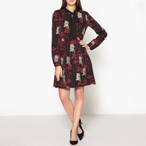 Платье с рисунком, воротником-галстуком и вышивкой THE KOOPLES. Цвет: красный/ черный