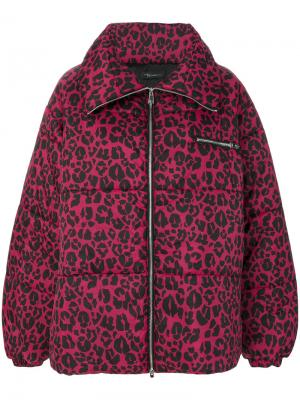 Дутое пальто с леопардовым принтом Barbara Bologna. Цвет: красный