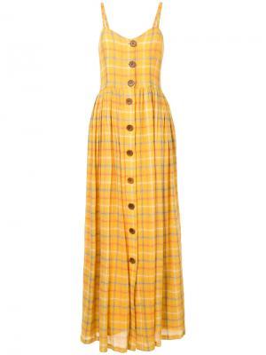 Платье в клетку на пуговицах N Duo. Цвет: жёлтый и оранжевый