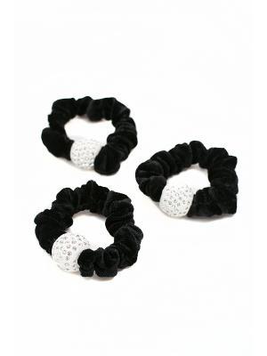 Набор черных резинок шарм со стразами 3 шт. JD.ZARZIS. Цвет: черный
