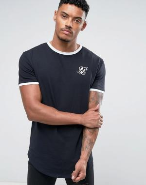 SikSilk Темно-синяя облегающая футболка с окантовкой. Цвет: темно-синий