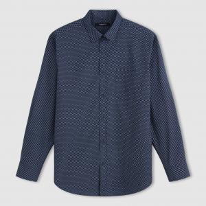 Рубашка с длинными рукавами из поплина рисунком TAILLISSIME. Цвет: рисунок темно-синий