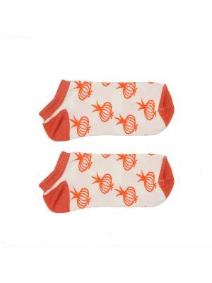 Носки ЗАПОРОЖЕЦ Лук короткие. Цвет: белый, оранжевый