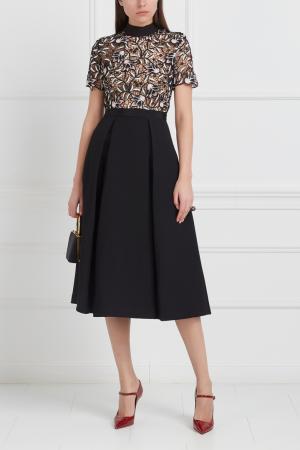 Кружевное платье Self-Portrait. Цвет: черный, белый