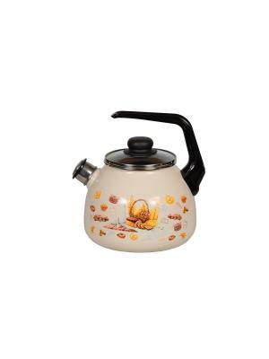 Чайник 3,0 л, со свистком,  СтальЭмаль. Цвет: бежевый