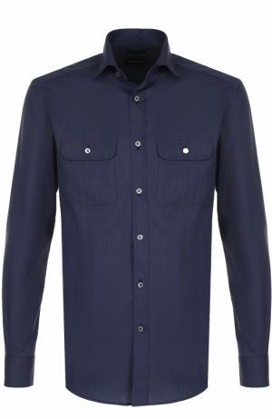 Хлопковая рубашка с воротником кент Ermenegildo Zegna. Цвет: темно-синий