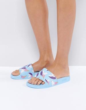Slydes Синие сандалии с единорогами Mendes. Цвет: синий