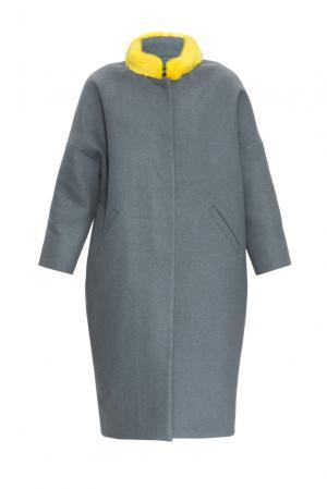 Утепленное пальто из шерсти с норковой отделкой 161178 Anna Dubovitskaya. Цвет: серый