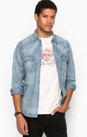 Джинсовая приталенная рубашка D&S Ralph Lauren. Цвет: синий