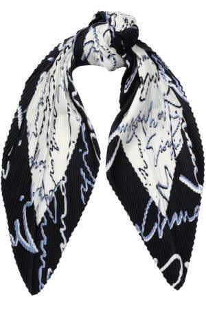 Шелковый плиссированный платок с надписями Giorgio Armani. Цвет: разноцветный