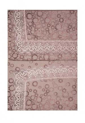 Комплект постельного белья Евро Asabella. Цвет: коричневый