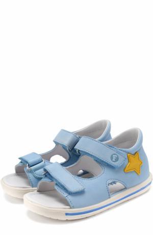 Кожаные сандалии с застежками велькро и аппликациями Falcotto. Цвет: голубой