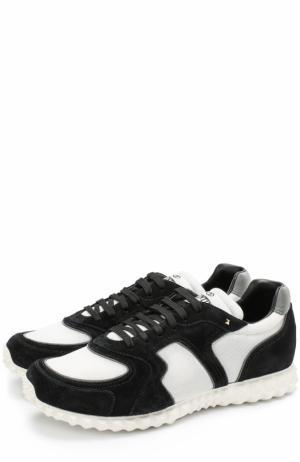 Комбинированные кроссовки  Garavani Soul AM на шнуровке Valentino. Цвет: черно-белый