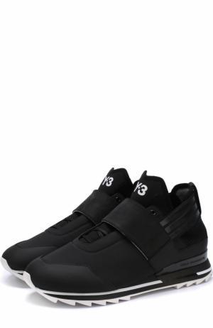 Комбинированные кроссовки с застежкой велькро Y-3. Цвет: черный