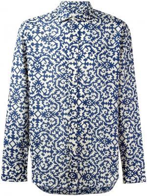 Спортивная рубашка с узором Salvatore Piccolo. Цвет: синий