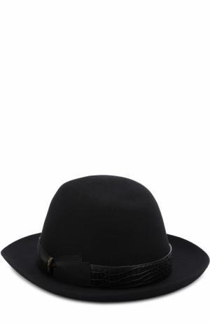 Фетровая шляпа с кожаной отделкой Borsalino. Цвет: черный