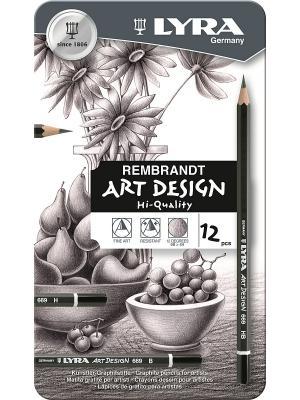 ART DESIGN Карандаши художественные 12 цв в метал коробке Lyra. Цвет: белый, серый, черный