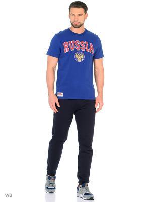 Футболка Россия Atributika & Club. Цвет: синий