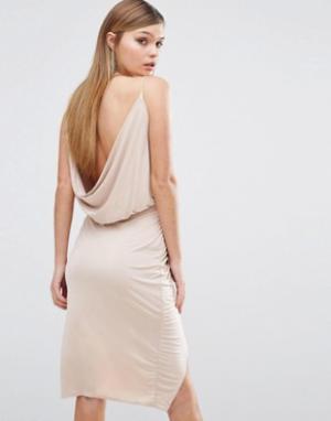Club L Платье с запахом спереди и драпировкой сзади. Цвет: розовый