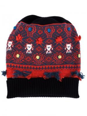 Cashmere intarsia knit beanie Barrie. Цвет: чёрный