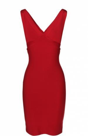Облегающее мини-платье с V-образным вырезом Herve L.Leroux. Цвет: красный