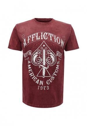Футболка Affliction. Цвет: бордовый