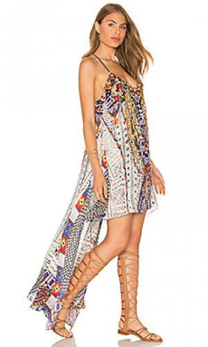 Платье с открытой спиной и вырезом спереди Camilla. Цвет: белый