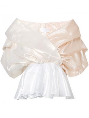 Драпированная блузка из тафты Caroline Constas. Цвет: металлический
