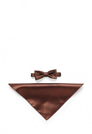 Комплект бабочка и платок Greg. Цвет: коричневый