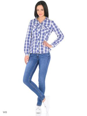 Рубашка HomeLike. Цвет: синий, белый