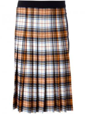 Плиссированная юбка в клетку Cédric Charlier. Цвет: многоцветный