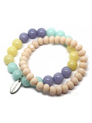 Комплект из двух браслетов. Натуральный кварц KARMONIA. Цвет: фиолетовый, бежевый, светло-желтый