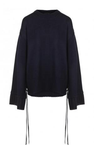 Однотонный пуловер свободного кроя с круглым вырезом Mother Of Pearl. Цвет: темно-синий