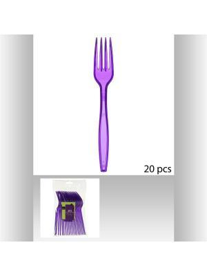 Набор вилок пластиковых для пикника из 20 шт JJA. Цвет: фиолетовый
