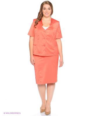 Жакет Queen Size. Цвет: коралловый