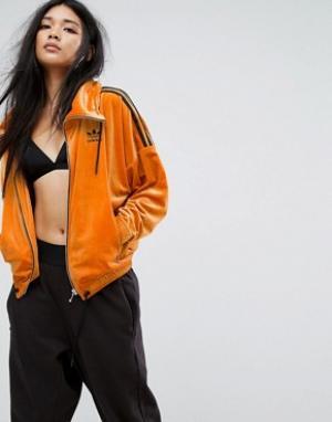 Adidas Бархатная спортивная куртка с высоким воротом и тремя полосками. Цвет: оранжевый