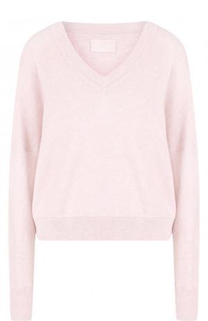 Хлопковый пуловер с V-образным вырезом Zadig&Voltaire. Цвет: розовый
