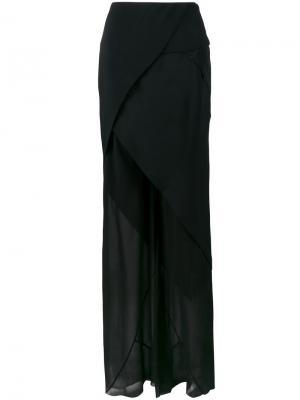 Прозрачные брюки с асимметричной юбкой Kitx. Цвет: чёрный