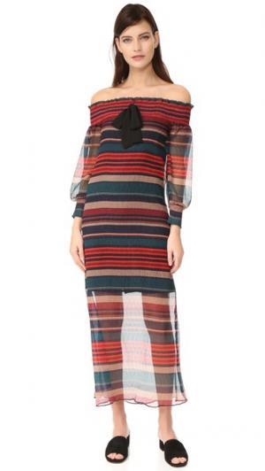 Платье с открытыми плечами ENGLISH FACTORY. Цвет: мульти