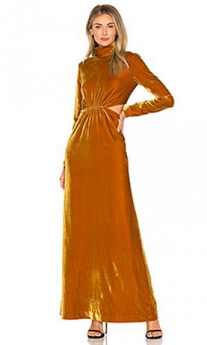 Макси платье sova Ronny Kobo. Цвет: горчичный