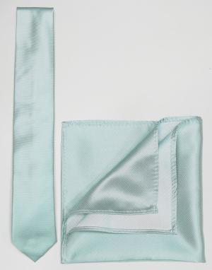 ASOS Галстук и платок для нагрудного кармана мятного цвета. Цвет: зеленый