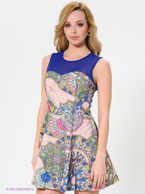 Платье Wow Couture. Цвет: синий, зеленый, розовый