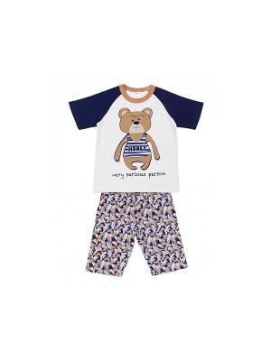 Пижама Модамини. Цвет: серый меланж, синий