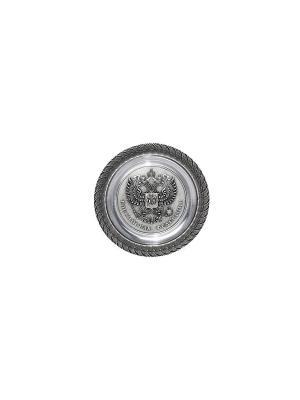 Тарелка декоративная ГЕРБ РФ d 150 мм Elff Ceramics. Цвет: серебристый