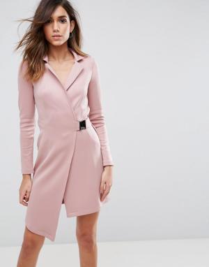 ASOS Платье-блейзер с пряжкой на поясе Premium. Цвет: розовый