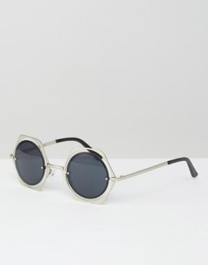 Jeepers Peepers Круглые солнцезащитные очки в шестиугольной металлической оправе Jeepe. Цвет: черный