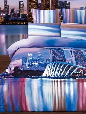 Комплект постельного белья Jardin. Цвет: синий