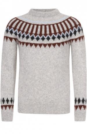 Шерстяной свитер с узором Ami. Цвет: серый