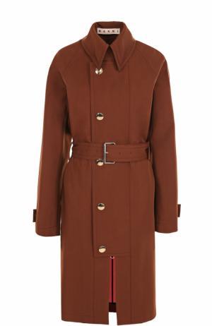 Шерстяное пальто с поясом и отложным воротником Marni. Цвет: коричневый